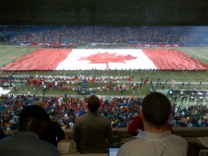 The giant Canadian flag that was unfurled on the field at the 100th Grey Cup game in Toronto.