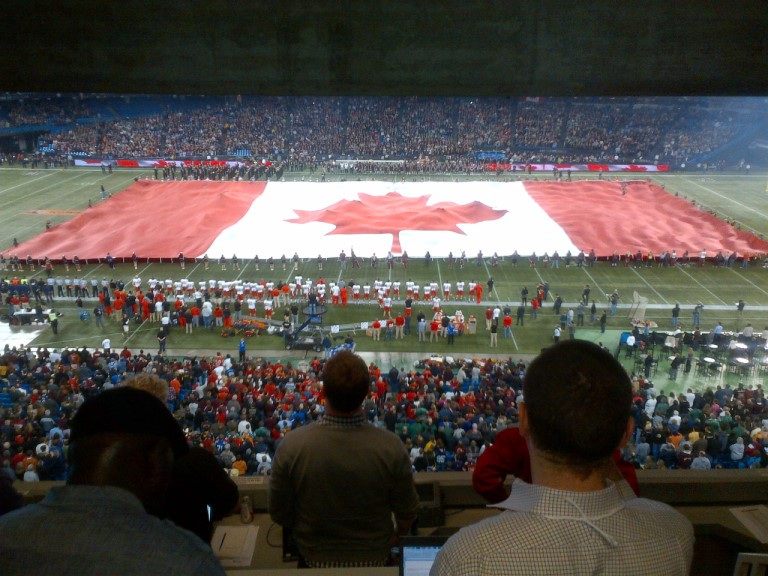 My view from the Press Box for the 2012 Grey Cup pregame ceremony.