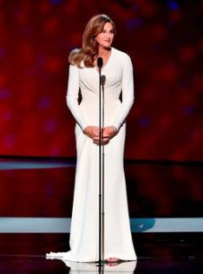 Caitlyn Jenner at the mic at the ESPY awards