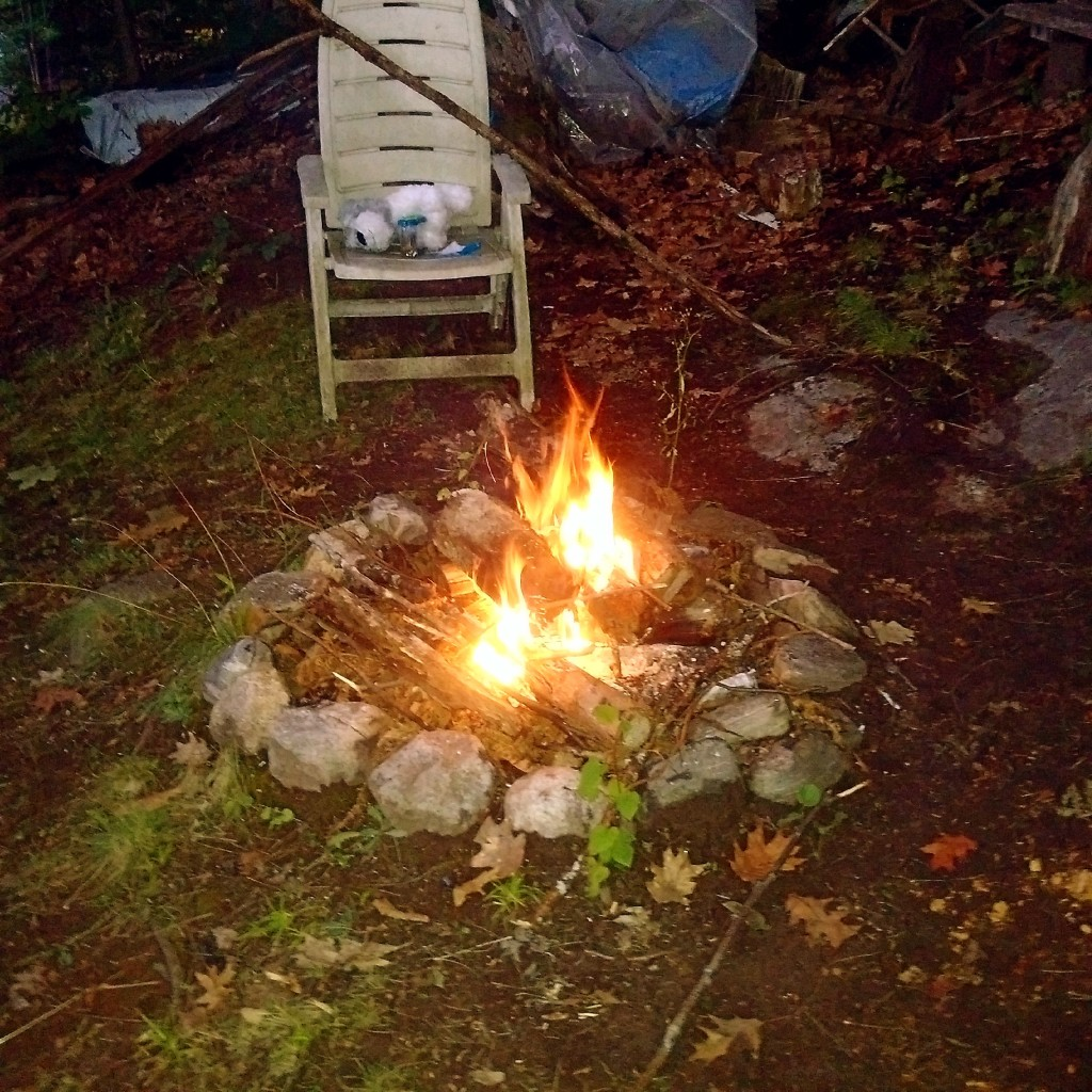 A crackling campfire, shared with my cousin and his family.