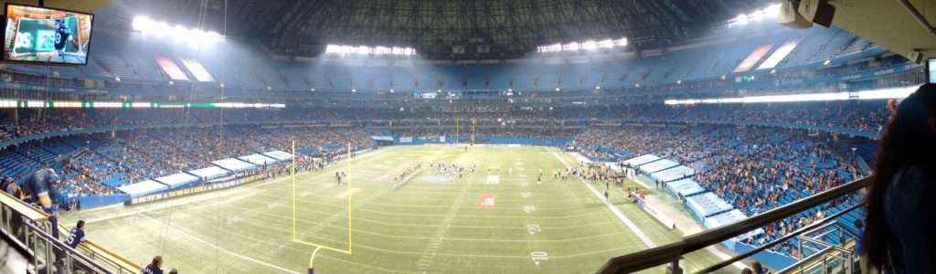 Panorama picture from the last Argos game at the Rogers Centre. I love how panorama mode allowed me to capture everything in one shot.