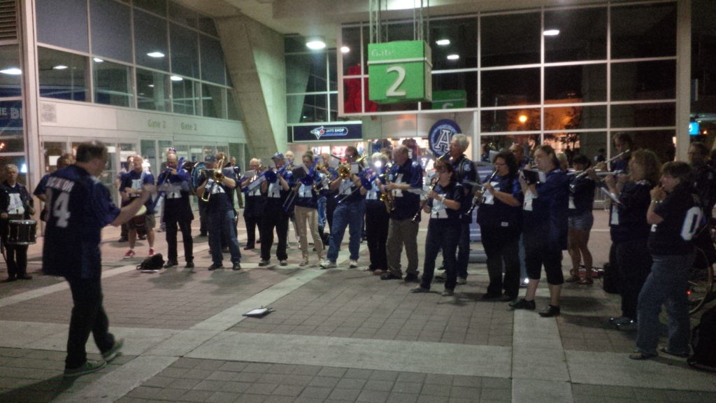 the band plays outside gate 2